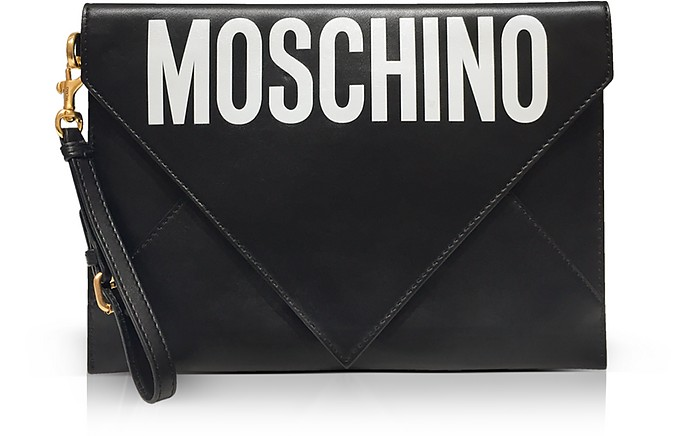 Flat Signature Envelope Clutch - Moschino