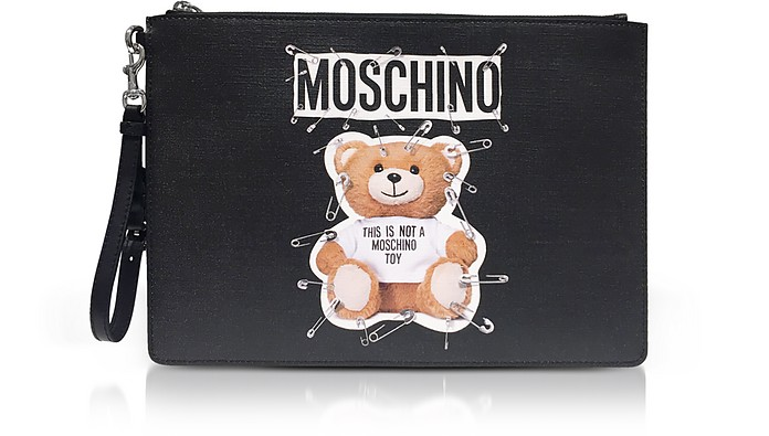 Teddy Bear Black Large Clutch - Moschino
