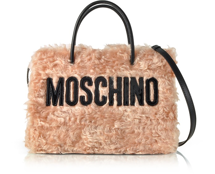 Pink Fleece Signature Tote Bag - Moschino