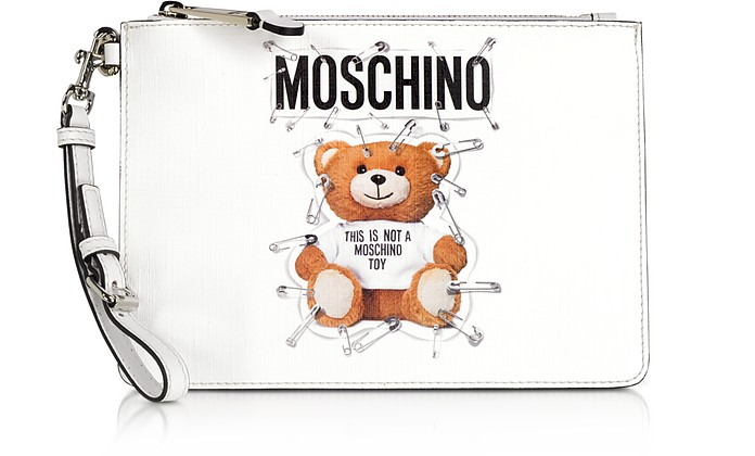 Optic White Teddy Bear Small Clutch - Moschino