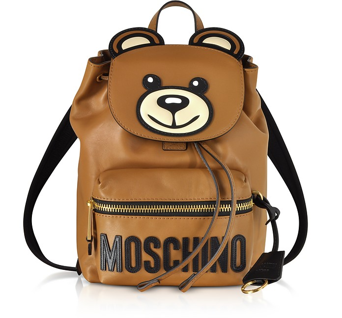 Brown Leather Teddy Bear Backpack - Moschino