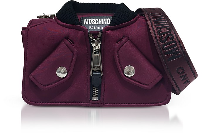 Burgundy Nylon Bomber Jacket Shoulder bag - Moschino