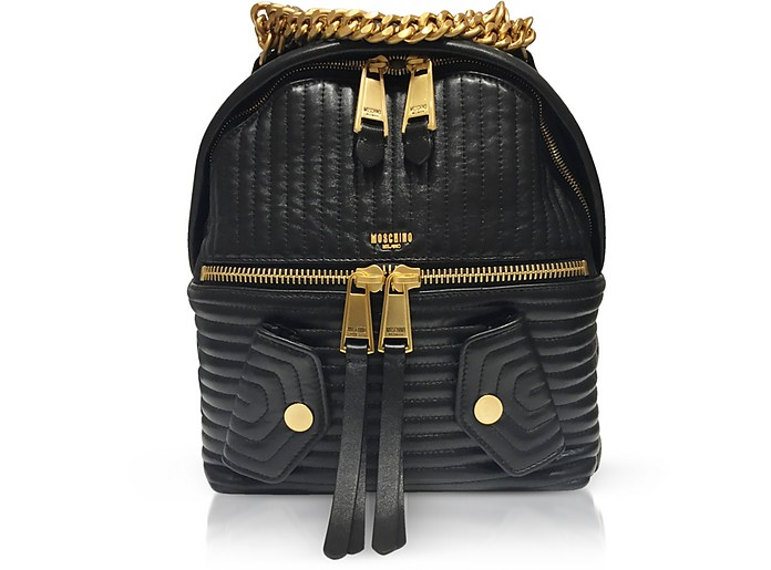 Black Quilted Leather Backpack - Moschino / モスキーノ