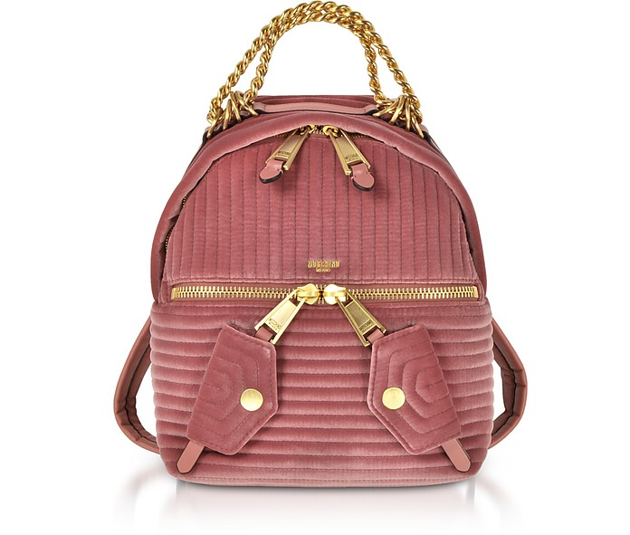 Pink Quilted Velvet Backpack - Moschino