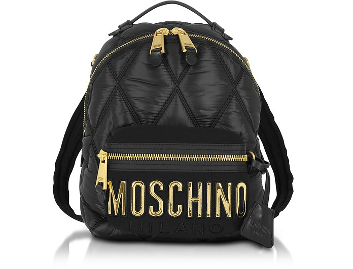 Quilted Nylon Signature Backpack - Moschino