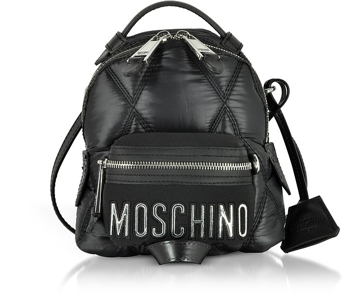 Black Quilted Nylon Mini Backpack - Moschino