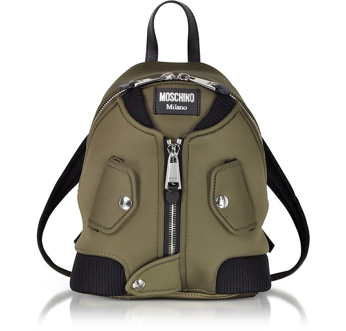 Military Green Nylon Bomber Jacket Backpack - Moschino