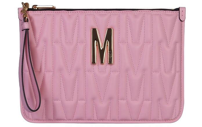 Pink Quilted Leather Logo Pouch - Moschino
