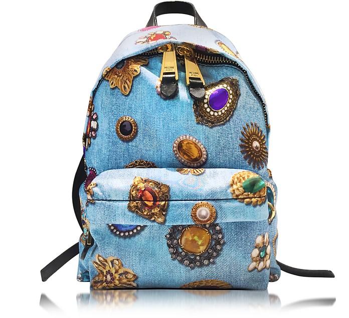 Denim Blue Printed Fabric Backpack - Moschino
