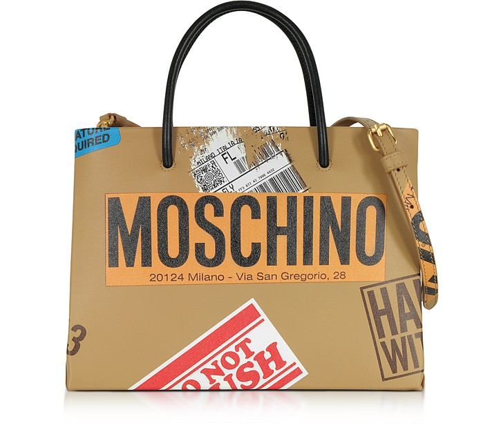 Beige Label Print Leather Small Tote Bag - Moschino