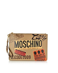 Beige Label Print Leather Clutch - Moschino