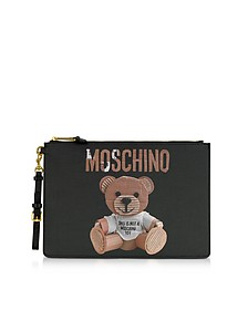 Teddy Bear Print Saffiano Leather Oversized Clutch - Moschino