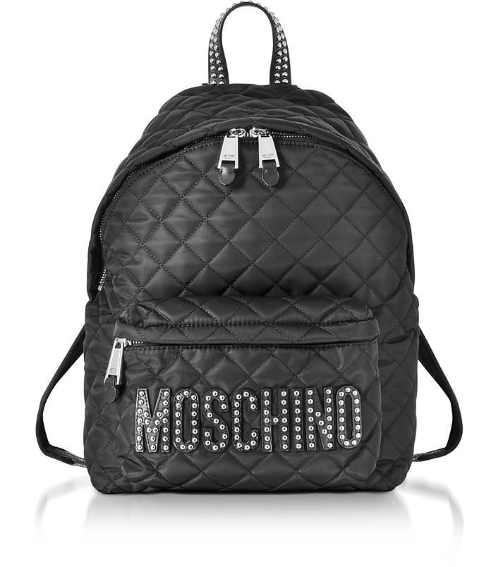 sac dos en nylon matelass noir avec clous moschino sur forzieri. Black Bedroom Furniture Sets. Home Design Ideas