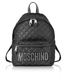 Black Quilted Nylon Backpack w/Studs - Moschino