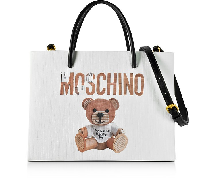 45f9b1065d58 Moschino Teddy Bear Print Saffiano Leather Small Tote Bag at FORZIERI UK