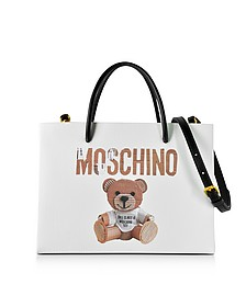 Teddy Bear Print Saffiano Leather Small Tote Bag - Moschino