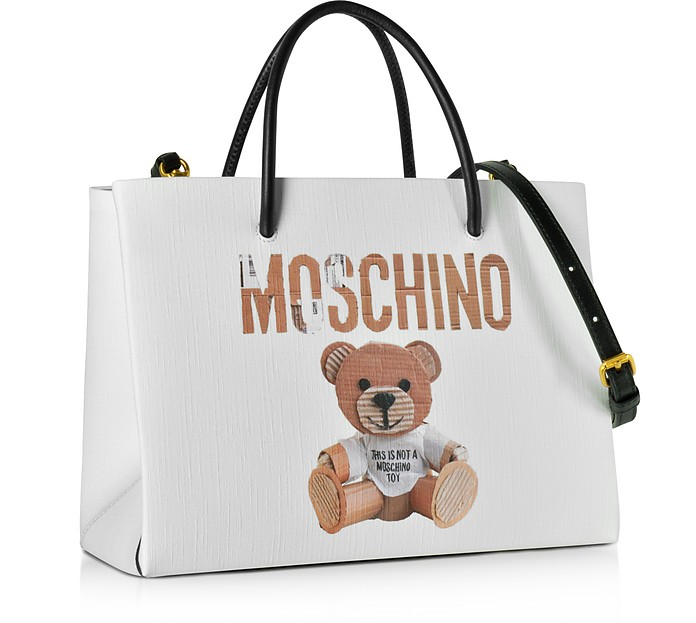 24f9fd168b Teddy Bear Print Saffiano Leather Small Tote Bag - Moschino. Sold Out