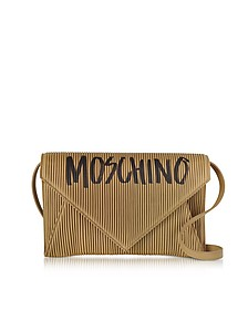 Brown Pleated Leather Envelope Shoulder Bag - Moschino