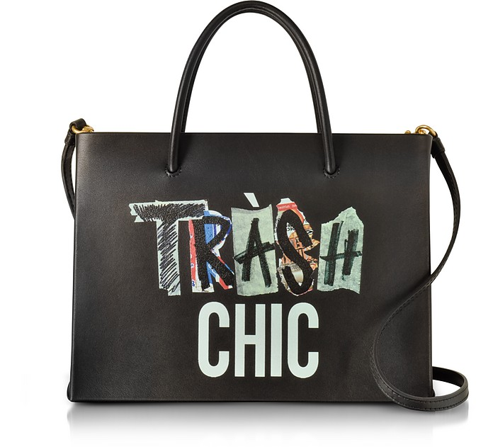 Trash Chic Black Leather Satchel Bag - Moschino