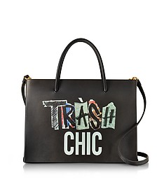 Trash Chic Black Leather Satchel Bag - Moschino
