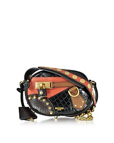 Black/Brown Quilted and Embossed Leather Small Shoulder Bag - Moschino