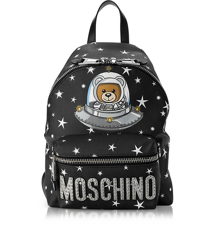 Space Teddy Bear Black Backpack - Moschino
