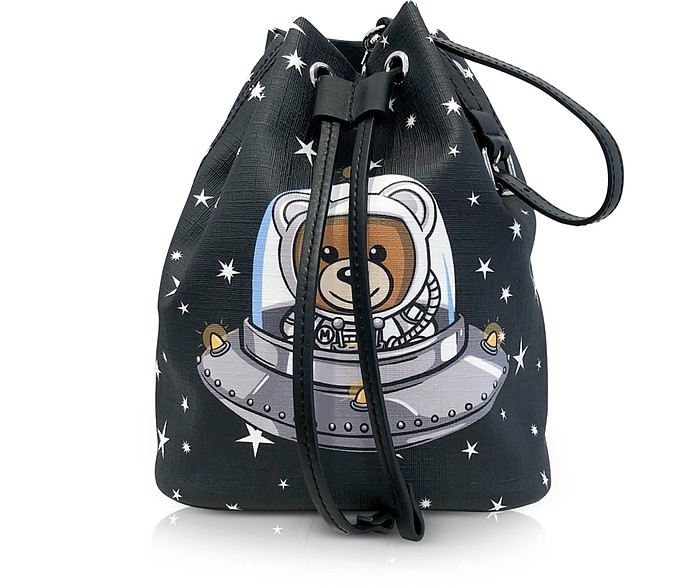 6f6a5936de Moschino Space Teddy Bear Black Bucket Bag at FORZIERI UK