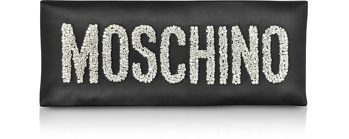 Black Oversized Signature Clutch - Moschino