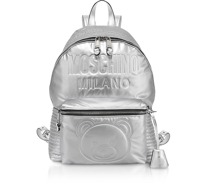 Teddy Bear Metallic Eco-Leather Backpack - Moschino