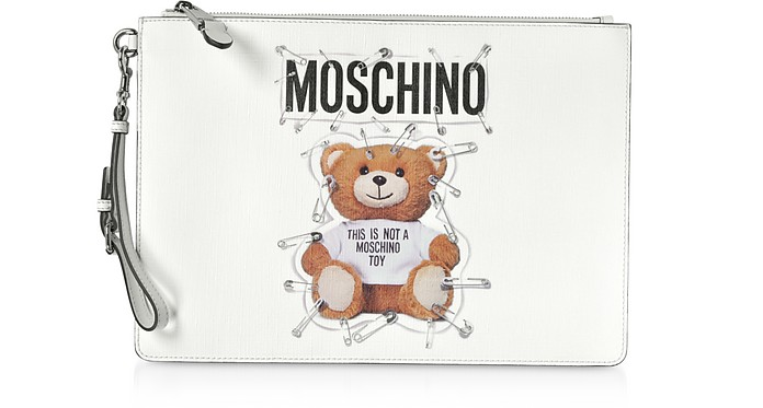 Teddy Bear Safety Pin Saffiano Leather Medium Clutch - Moschino
