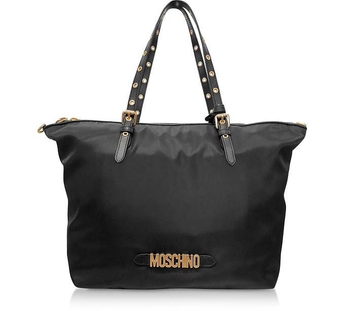 Black Nylon Signature Tote Bag - Moschino