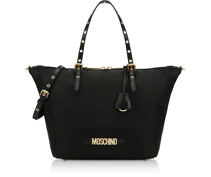 Black Nylon Signature Tote Bag - Moschino
