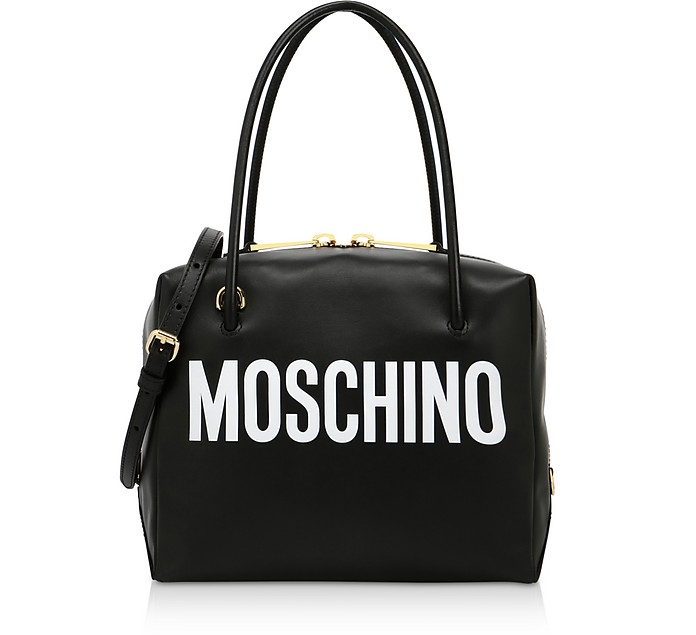 Black and White Signature Satchel Bag - Moschino