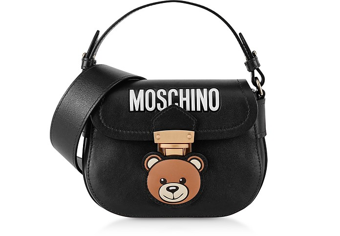 Black Teddy Bear Top Handle Shoulder Bag - Moschino