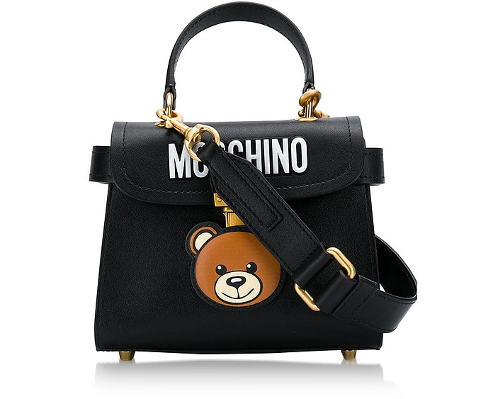 Black Teddy Bear Top Handle Satchel Bag - Moschino