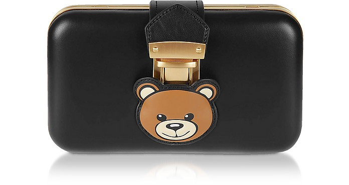 Black Teddy Pocket Leather Clutch w/Chain Strap - Moschino