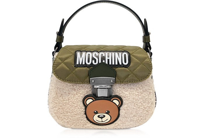 Teddy Bear Leather & Eco-Shearling Shoulder Bag - Moschino