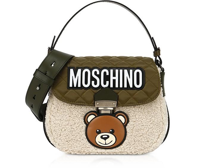 Teddy Bear Borsa a Spalla in Eco Pelliccia e Nylon  - Moschino