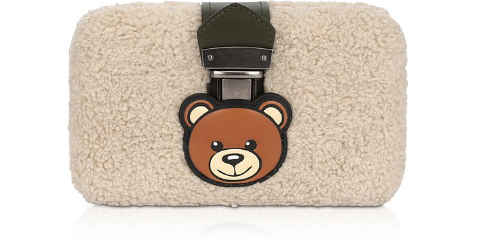 Teddy Bear Eco-Shearling Clutch w/Chain Strap - Moschino