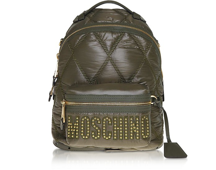 Green Quilted Nylon Signature Backpack - Moschino