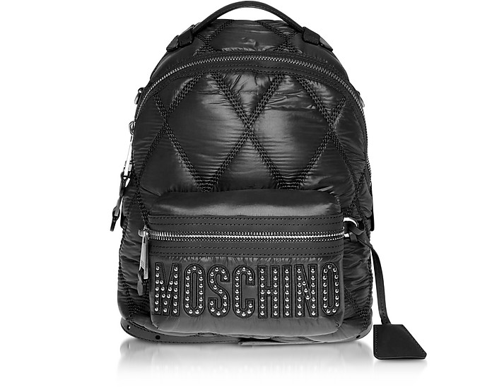 Black Quilted Nylon Signature Backpack w/Silver Studs - Moschino
