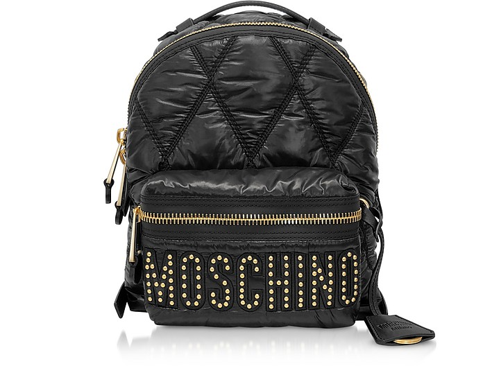 Black Quilted Nylon Signature Backpack w/Gold Studs - Moschino