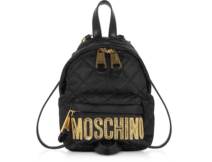 Black Quilted Nylon Signature Mini Backpack w/Gold Studs - Moschino