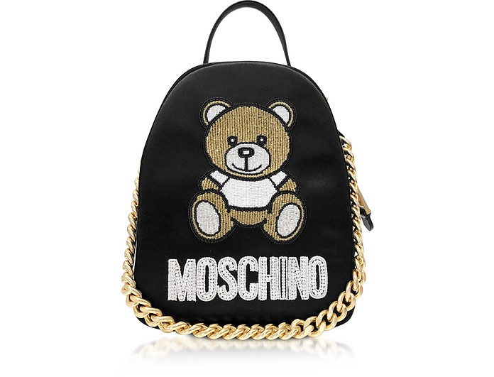 Black Teddy Bear Chain Backpack - Moschino