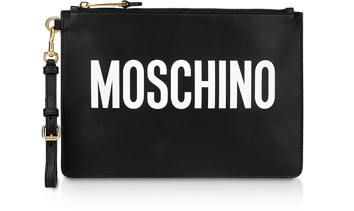 Black Leather Signature Flat Clutch - Moschino