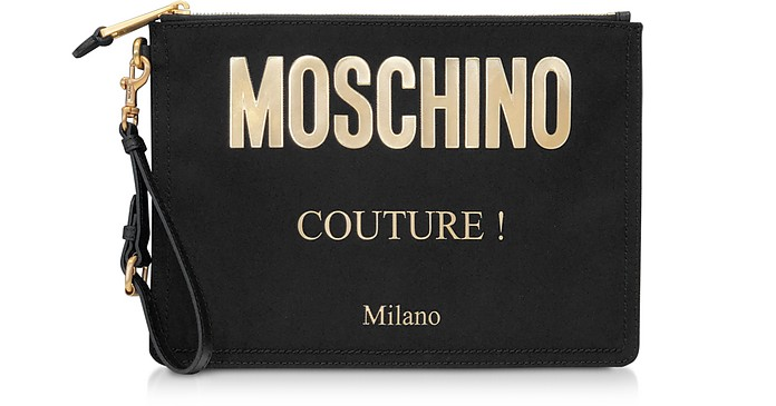 Black and Gold Nylon Signature Clutch - Moschino