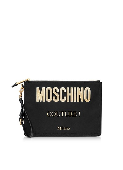 Black and Gold Canvas Signature Clutch - Moschino