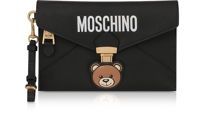Teddy Bear Black Leather Clutch w/Wristlet - Moschino