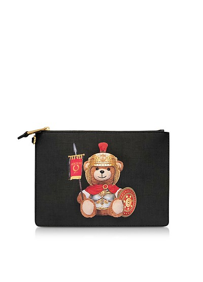 Teddy Bear Flat Clutch w/Wristlet - Moschino