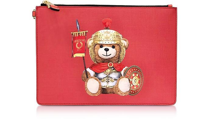 Roman Teddy Bear Flat Clutch w/Wristlet - Moschino